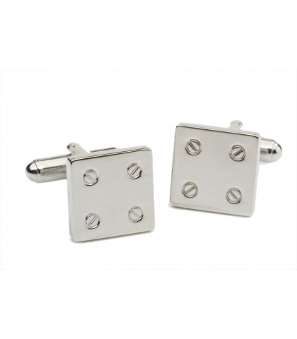 SQUARED CUFFLINKS RHODIUM...
